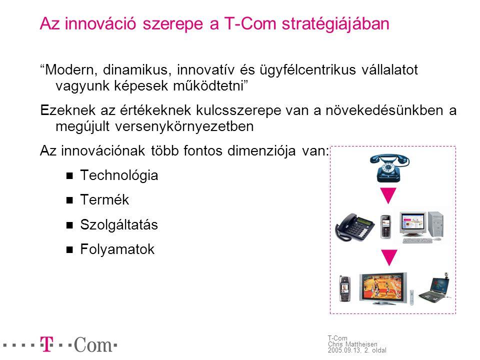 """T-Com Chris Mattheisen 2005.09.13, 2. oldal Az innováció szerepe a T-Com stratégiájában """"Modern, dinamikus, innovatív és ügyfélcentrikus vállalatot va"""
