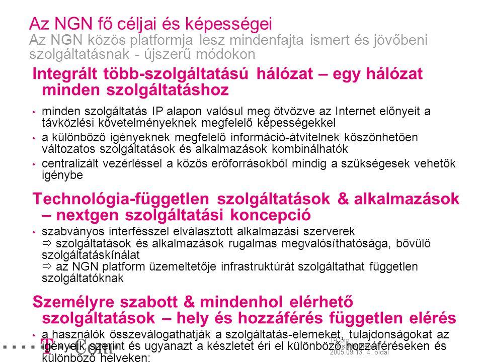 T-Com Chris Mattheisen 2005.09.13, 4. oldal Az NGN fő céljai és képességei Az NGN közös platformja lesz mindenfajta ismert és jövőbeni szolgáltatásnak