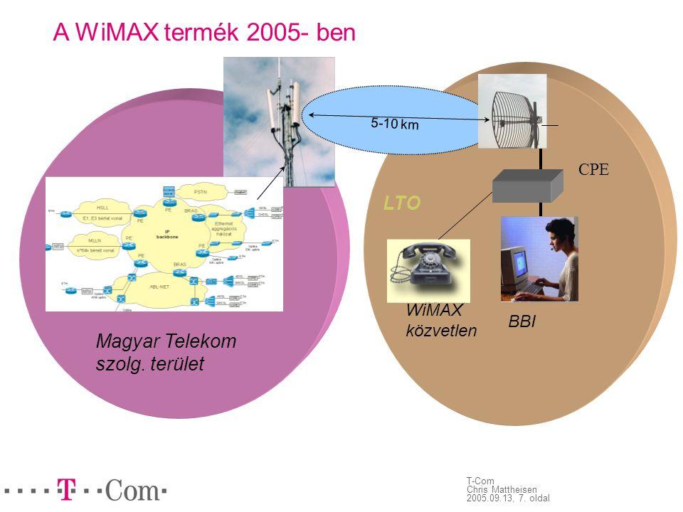 T-Com Chris Mattheisen 2005.09.13, 7. oldal 5-10 km Magyar Telekom szolg. terület LTO BBI WiMAX közvetlen CPE A WiMAX termék 2005- ben