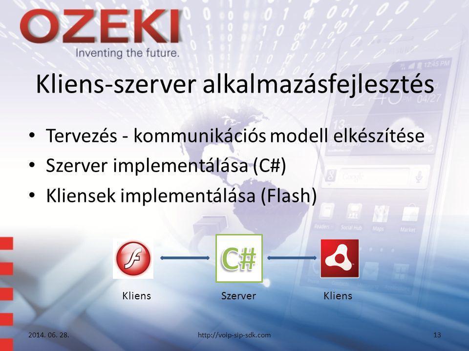 Kliens-szerver alkalmazásfejlesztés • Tervezés - kommunikációs modell elkészítése • Szerver implementálása (C#) • Kliensek implementálása (Flash) 2014