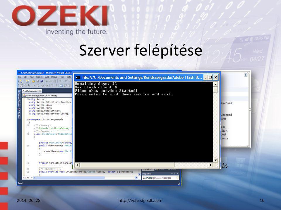 Szerver felépítése 2014. 06. 28.http://voip-sip-sdk.com16 • Konzol • Szolgáltatás