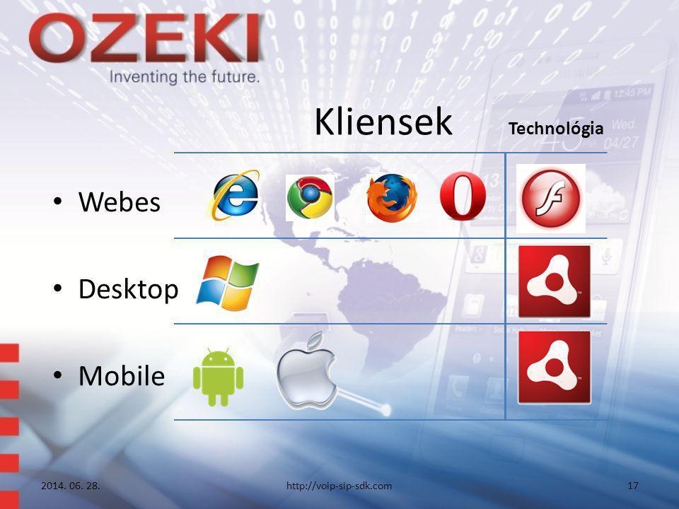 Kliensek Technológia • Webes • Desktop • Mobile 2014. 06. 28.http://voip-sip-sdk.com17