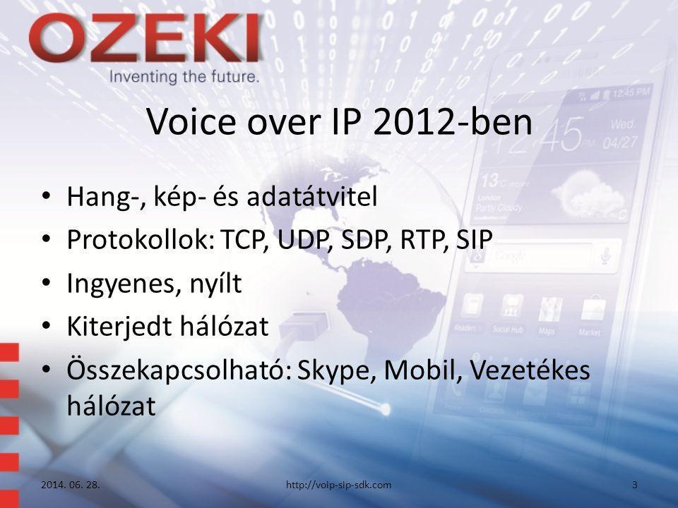 Voice over IP 2012-ben • Hang-, kép- és adatátvitel • Protokollok: TCP, UDP, SDP, RTP, SIP • Ingyenes, nyílt • Kiterjedt hálózat • Összekapcsolható: S