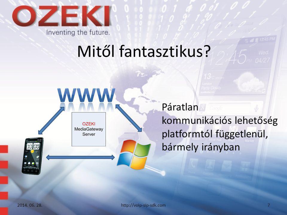Mitől fantasztikus? Páratlan kommunikációs lehetőség platformtól függetlenül, bármely irányban 2014. 06. 28.http://voip-sip-sdk.com7