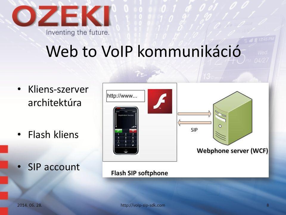 Web to VoIP kommunikáció • Kliens-szerver architektúra • Flash kliens • SIP account 2014. 06. 28.http://voip-sip-sdk.com8