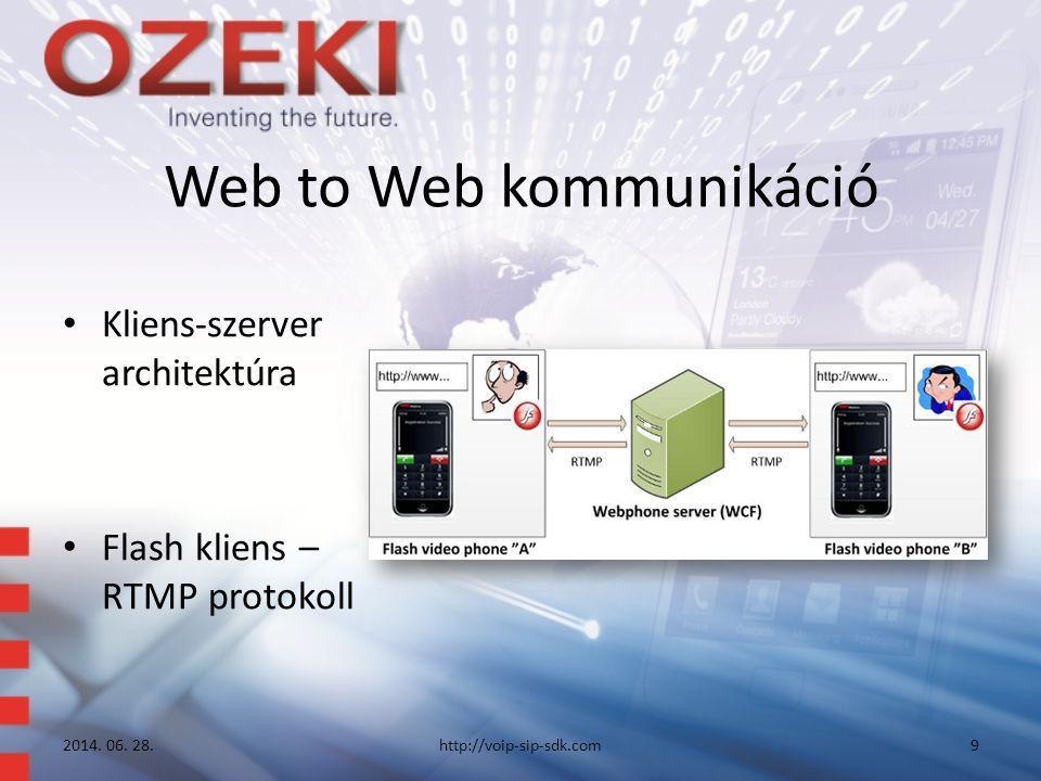 Web to Web kommunikáció • Kliens-szerver architektúra • Flash kliens – RTMP protokoll 2014. 06. 28.http://voip-sip-sdk.com9