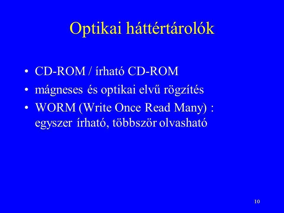 10 Optikai háttértárolók •CD-ROM / írható CD-ROM •mágneses és optikai elvű rögzítés •WORM (Write Once Read Many) : egyszer írható, többször olvasható