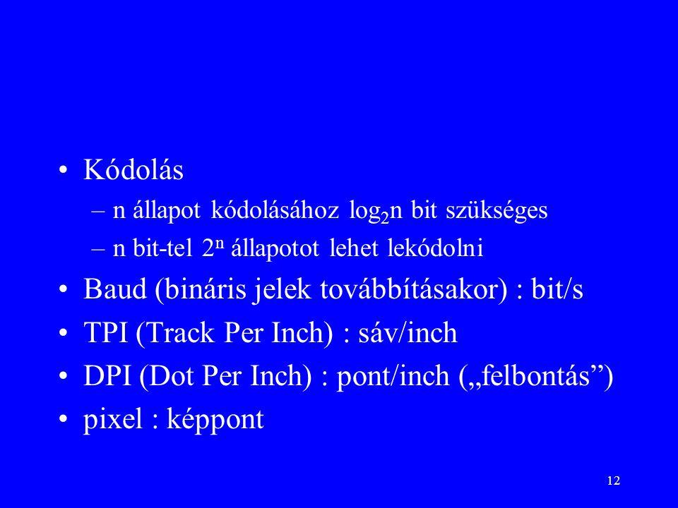"""12 •Kódolás –n állapot kódolásához log 2 n bit szükséges –n bit-tel 2 n állapotot lehet lekódolni •Baud (bináris jelek továbbításakor) : bit/s •TPI (Track Per Inch) : sáv/inch •DPI (Dot Per Inch) : pont/inch (""""felbontás ) •pixel : képpont"""