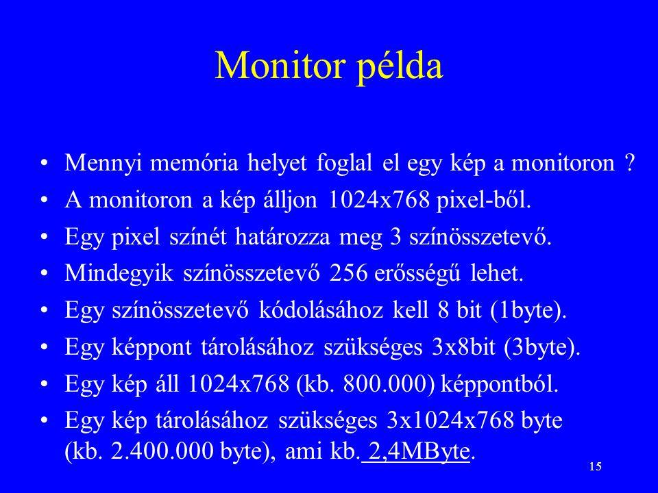 15 Monitor példa •Mennyi memória helyet foglal el egy kép a monitoron ? •A monitoron a kép álljon 1024x768 pixel-ből. •Egy pixel színét határozza meg