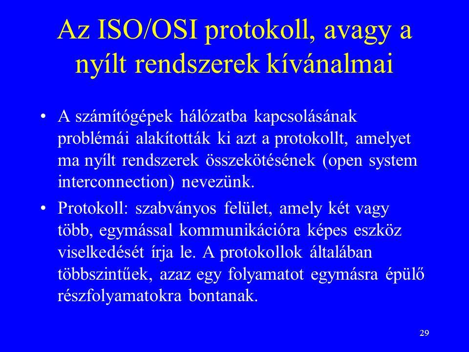 29 Az ISO/OSI protokoll, avagy a nyílt rendszerek kívánalmai •A számítógépek hálózatba kapcsolásának problémái alakították ki azt a protokollt, amelye