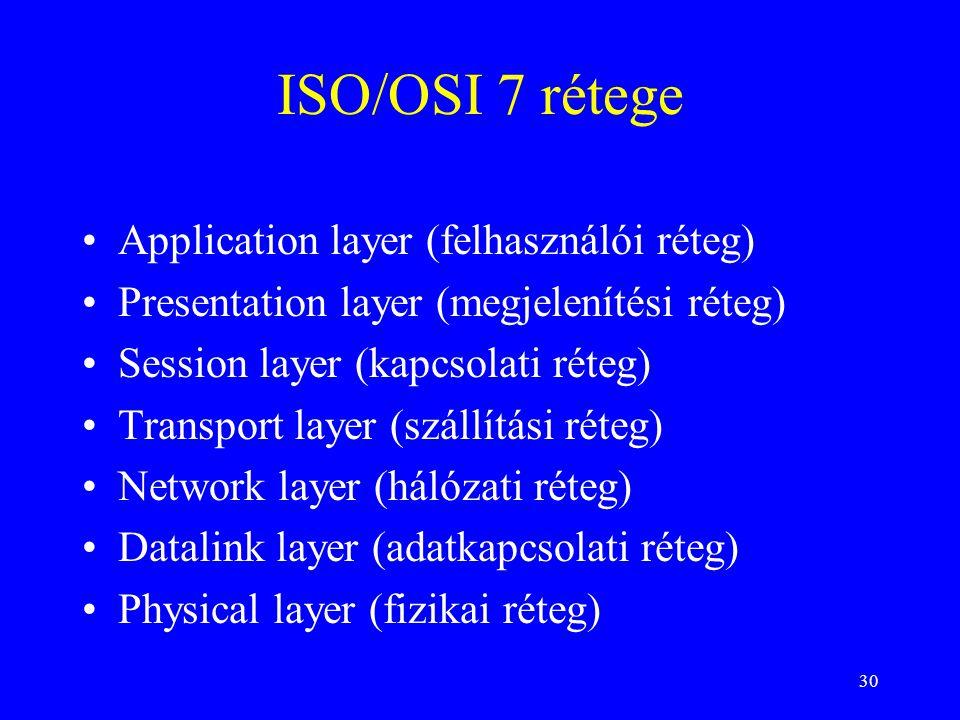30 ISO/OSI 7 rétege •Application layer (felhasználói réteg) •Presentation layer (megjelenítési réteg) •Session layer (kapcsolati réteg) •Transport layer (szállítási réteg) •Network layer (hálózati réteg) •Datalink layer (adatkapcsolati réteg) •Physical layer (fizikai réteg)