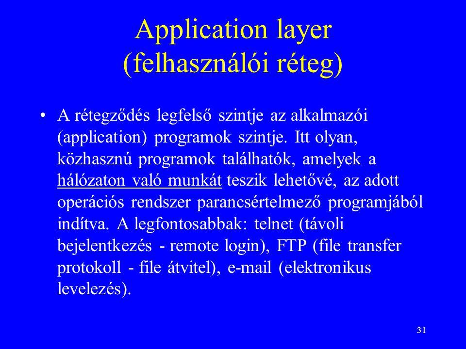 31 Application layer (felhasználói réteg) •A rétegződés legfelső szintje az alkalmazói (application) programok szintje. Itt olyan, közhasznú programok