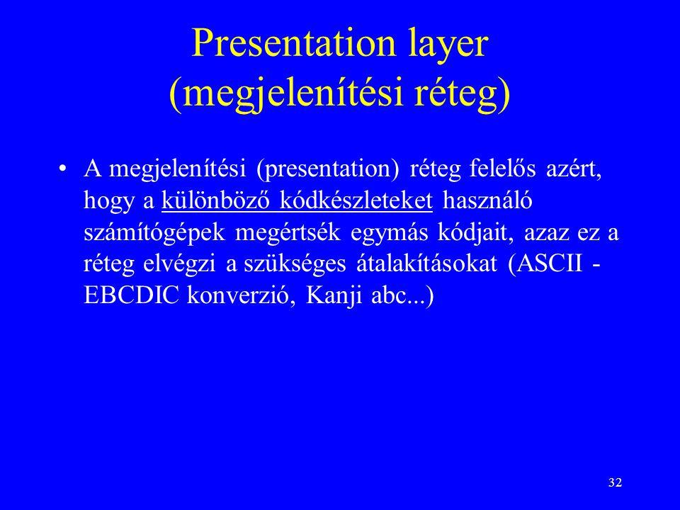 32 Presentation layer (megjelenítési réteg) •A megjelenítési (presentation) réteg felelős azért, hogy a különböző kódkészleteket használó számítógépek megértsék egymás kódjait, azaz ez a réteg elvégzi a szükséges átalakításokat (ASCII - EBCDIC konverzió, Kanji abc...)