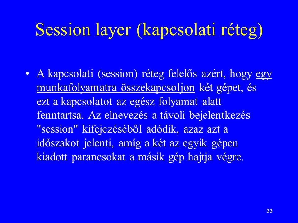 33 Session layer (kapcsolati réteg) •A kapcsolati (session) réteg felelős azért, hogy egy munkafolyamatra összekapcsoljon két gépet, és ezt a kapcsolatot az egész folyamat alatt fenntartsa.