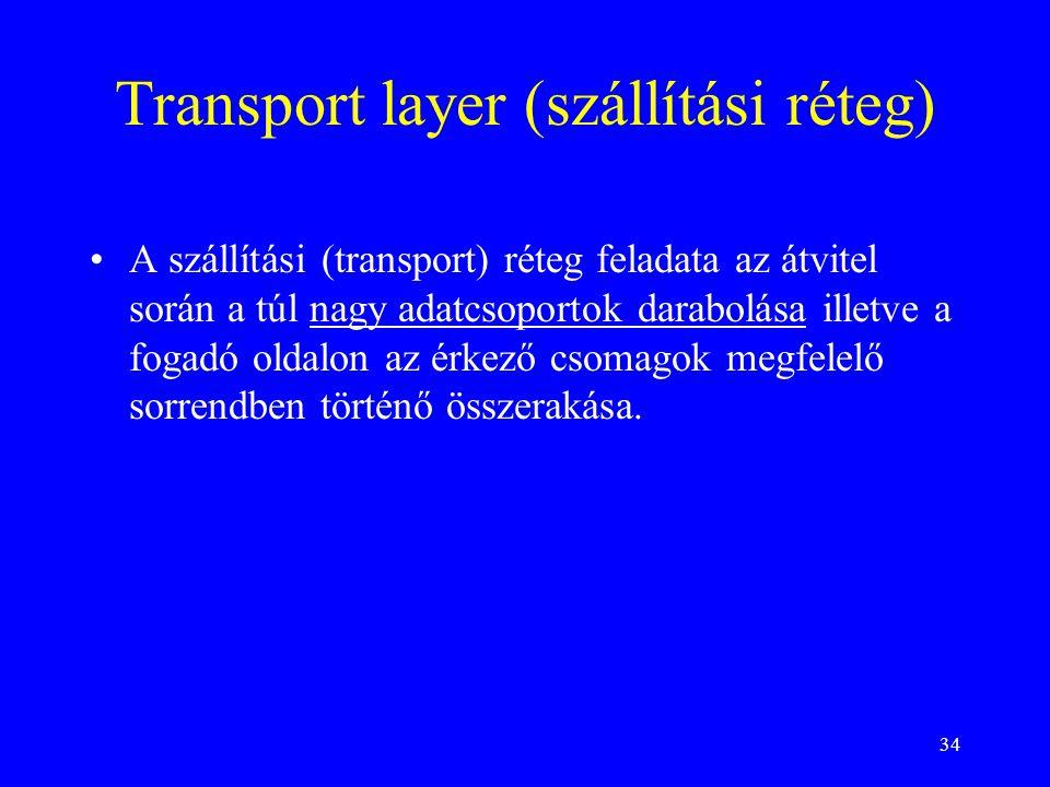 34 Transport layer (szállítási réteg) •A szállítási (transport) réteg feladata az átvitel során a túl nagy adatcsoportok darabolása illetve a fogadó oldalon az érkező csomagok megfelelő sorrendben történő összerakása.