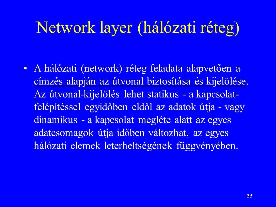 35 Network layer (hálózati réteg) •A hálózati (network) réteg feladata alapvetően a címzés alapján az útvonal biztosítása és kijelölése. Az útvonal-ki