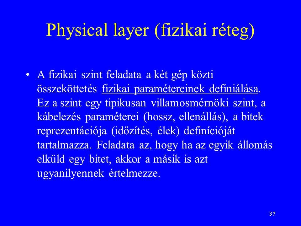 37 Physical layer (fizikai réteg) •A fizikai szint feladata a két gép közti összeköttetés fizikai paramétereinek definiálása. Ez a szint egy tipikusan