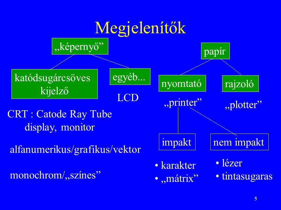 """5 Megjelenítők katódsugárcsöves kijelző """"képernyő papír nyomtató rajzoló alfanumerikus/grafikus/vektor CRT : Catode Ray Tube display, monitor monochrom/""""színes impaktnem impakt • lézer • tintasugaras • karakter • """"mátrix """"plotter """"printer LCD egyéb..."""