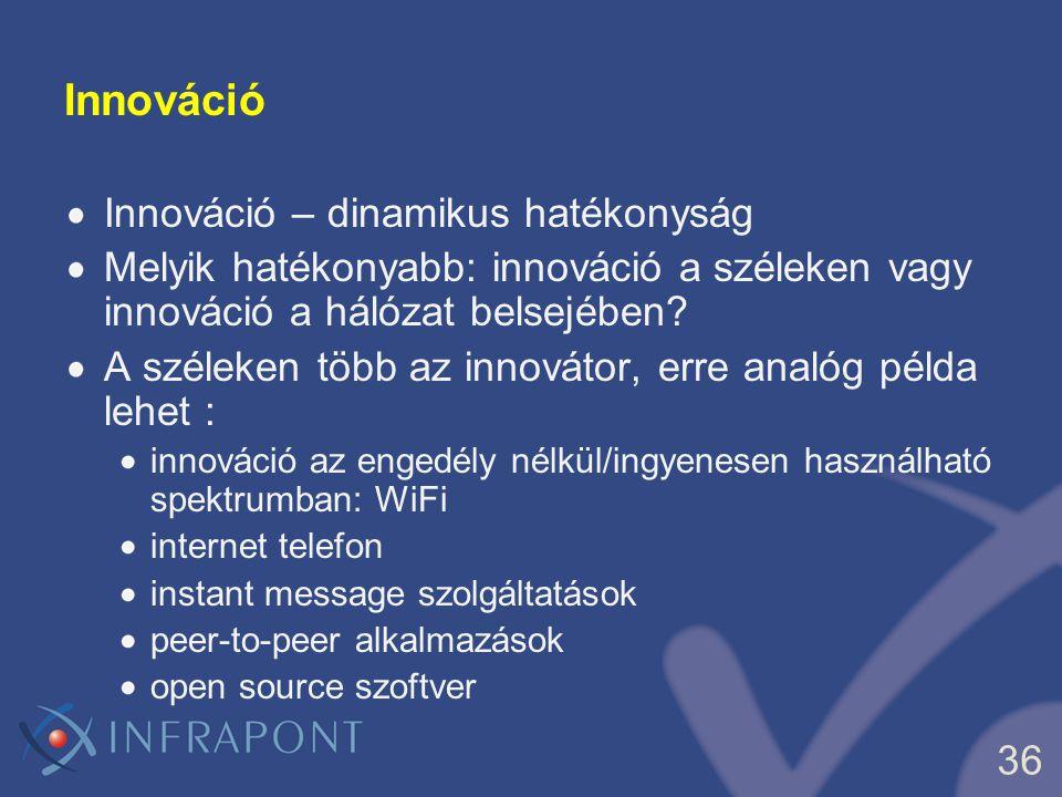 36 Innováció Innováció – dinamikus hatékonyság Melyik hatékonyabb: innováció a széleken vagy innováció a hálózat belsejében? A széleken több az innová