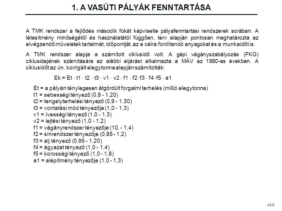 43/9 1. A VASÚTI PÁLYÁK FENNTARTÁSA A TMK rendszer a fejlődés második fokát képviselte pályafenntartási rendszerek sorában. A létesítmény minőségétől