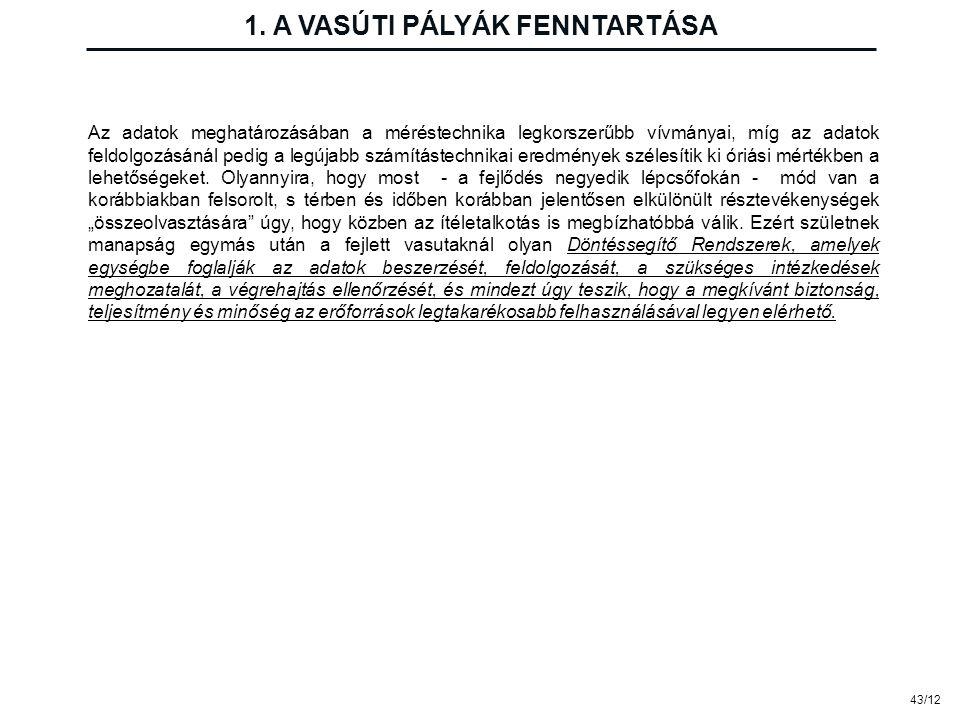 43/12 1. A VASÚTI PÁLYÁK FENNTARTÁSA Az adatok meghatározásában a méréstechnika legkorszerűbb vívmányai, míg az adatok feldolgozásánál pedig a legújab