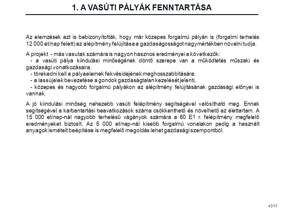 43/17 1. A VASÚTI PÁLYÁK FENNTARTÁSA Az elemzések azt is bebizonyították, hogy már közepes forgalmú pályán is (forgalmi terhelés 12 000 et/nap felett)