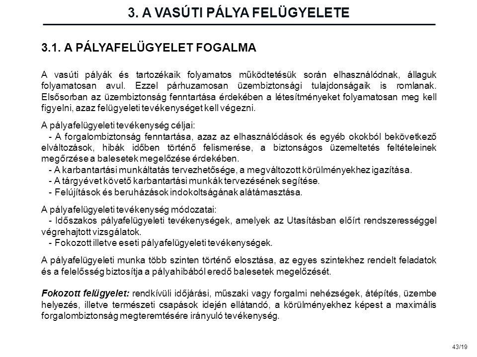 43/19 3. A VASÚTI PÁLYA FELÜGYELETE 3.1. A PÁLYAFELÜGYELET FOGALMA A vasúti pályák és tartozékaik folyamatos működtetésük során elhasználódnak, állagu
