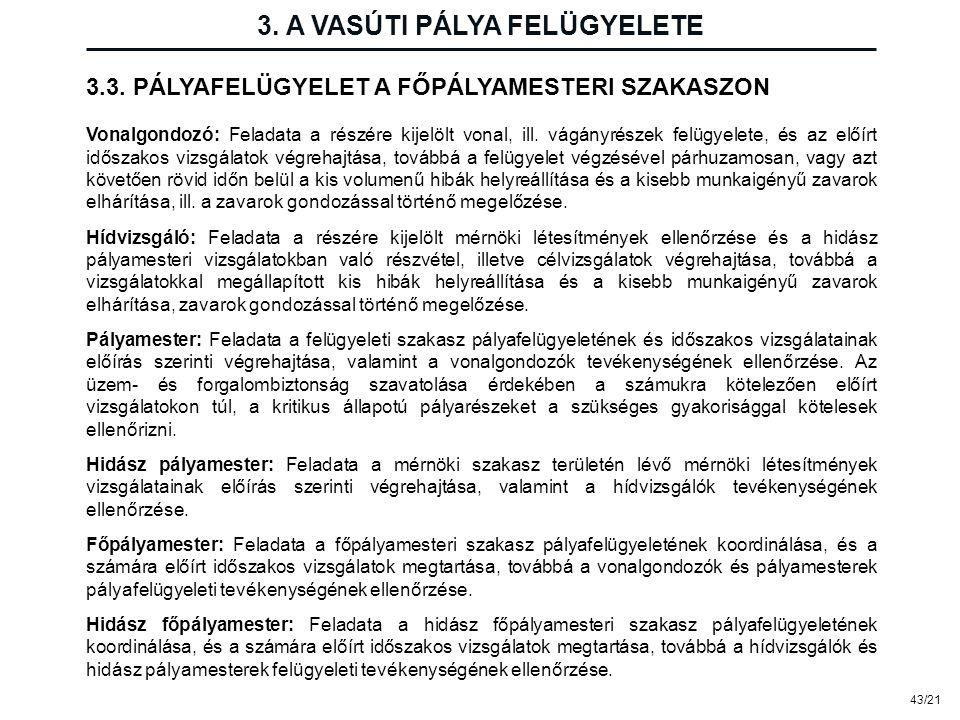 43/21 3. A VASÚTI PÁLYA FELÜGYELETE Vonalgondozó: Feladata a részére kijelölt vonal, ill. vágányrészek felügyelete, és az előírt időszakos vizsgálatok