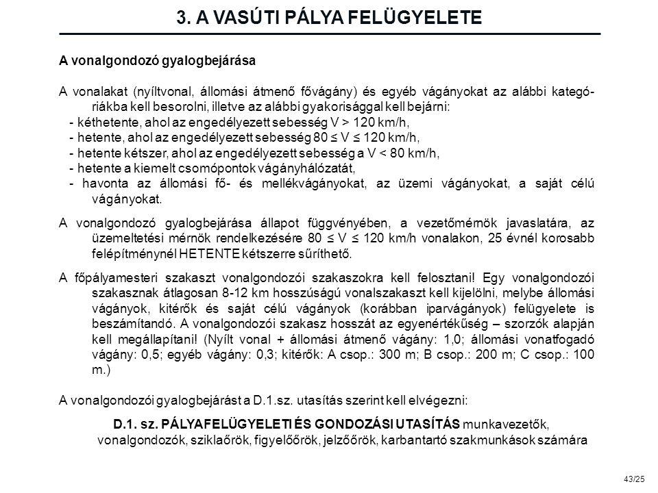 43/25 3. A VASÚTI PÁLYA FELÜGYELETE A vonalgondozó gyalogbejárása A vonalakat (nyíltvonal, állomási átmenő fővágány) és egyéb vágányokat az alábbi kat