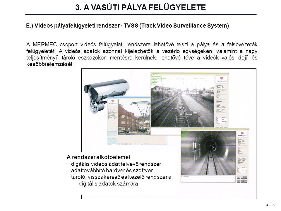 43/39 3. A VASÚTI PÁLYA FELÜGYELETE E.) Videos pályafelügyeleti rendszer - TVSS (Track Video Surveillance System) A MERMEC csoport videós felügyeleti
