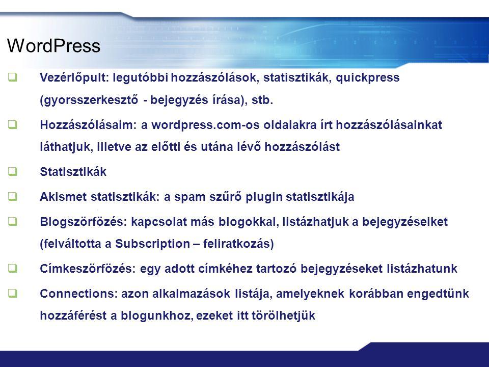WordPress  Vezérlőpult: legutóbbi hozzászólások, statisztikák, quickpress (gyorsszerkesztő - bejegyzés írása), stb.  Hozzászólásaim: a wordpress.com