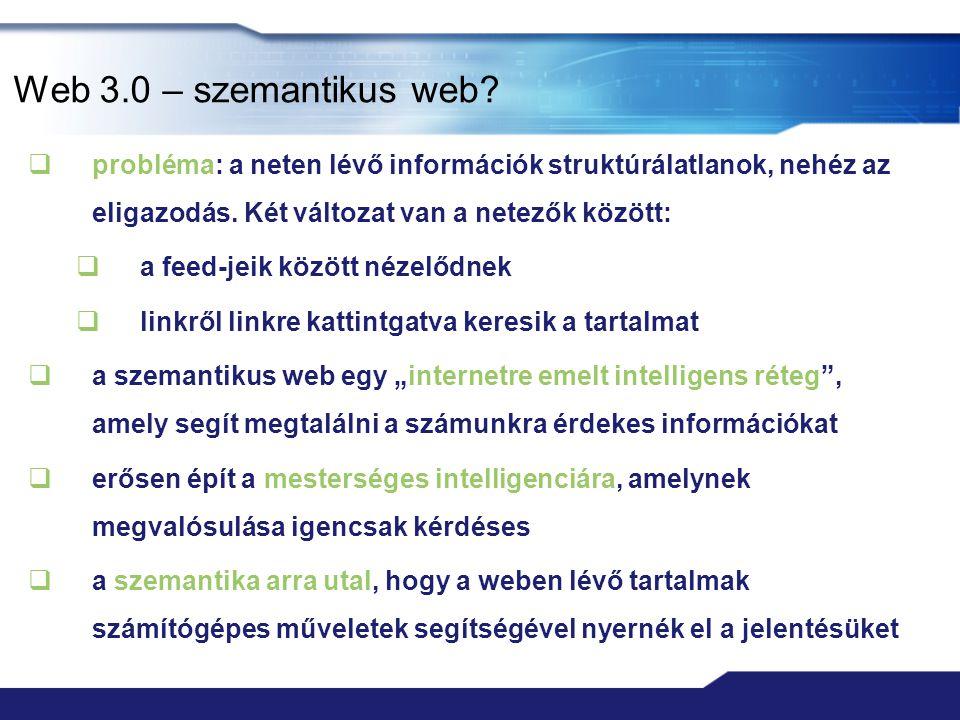 Web 2.0 szolgáltatások  közösségi oldalak: Facebook, MySpace, LinkedIn, iWiW  képmegosztó oldalak: Flickr, Picasa, Photobucket  videómegosztó portálok: YouTube, Google Videos  blogok: WordPress, Twitter  online irodai alkalmazások: Google Calendar, Google Docs & Spreadsheets  hírforrások (feed-ek): RSS, Atom  online tárhely: Box.net, Dropbox