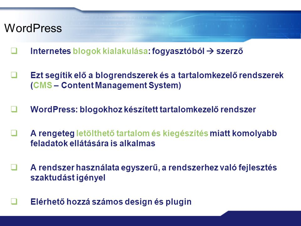 """Blog alternatívák  Blogger – Google blog szolgáltatása  Textpattern  """"nincs hozzá közösség  beépített SPAM védelem, RSS, oldal statisztika  Moveable Type  itt jelent meg először a trackback  konfigurálható felhasználói szerepkörök  Serendipity  pluginek, témák, trackback, támogatás  könnyű frissíteni, ha újabb verzió jön ki  LyfeType, Flatpress, Nucleus  CMS  Drupal, Joomla, Frog CMS, TYPO, b2Evolution"""