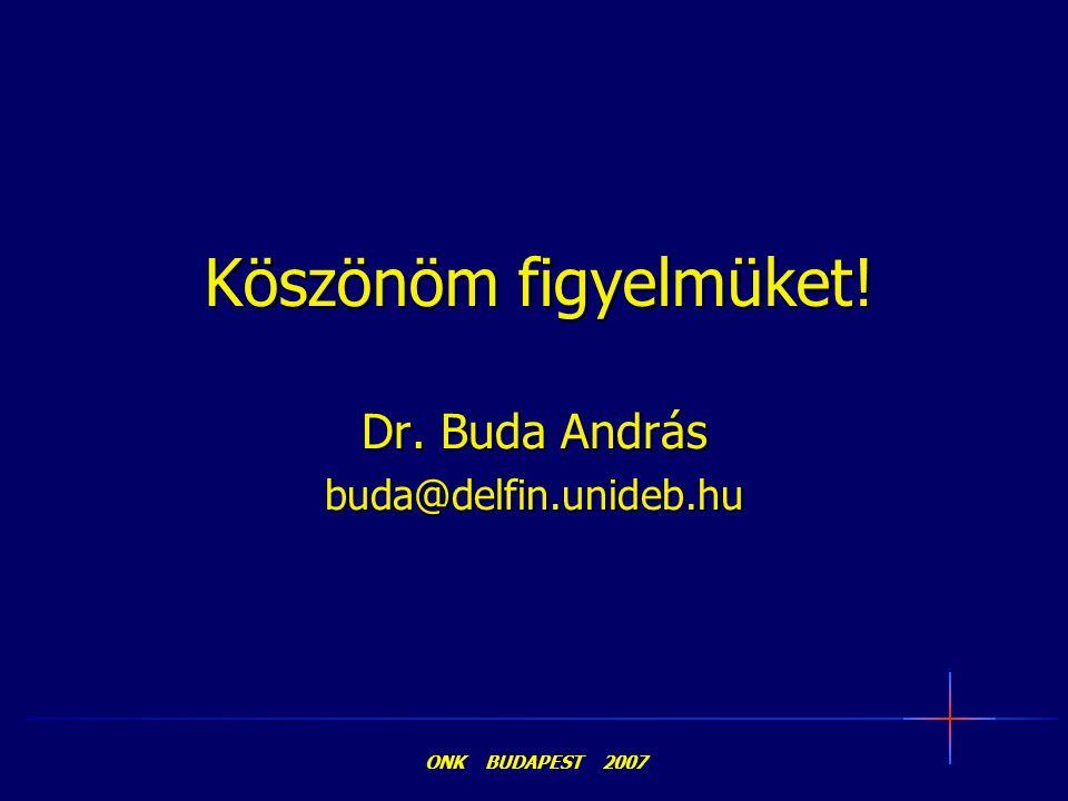 Köszönöm figyelmüket! Dr. Buda András buda@delfin.unideb.hu ONK BUDAPEST 2007