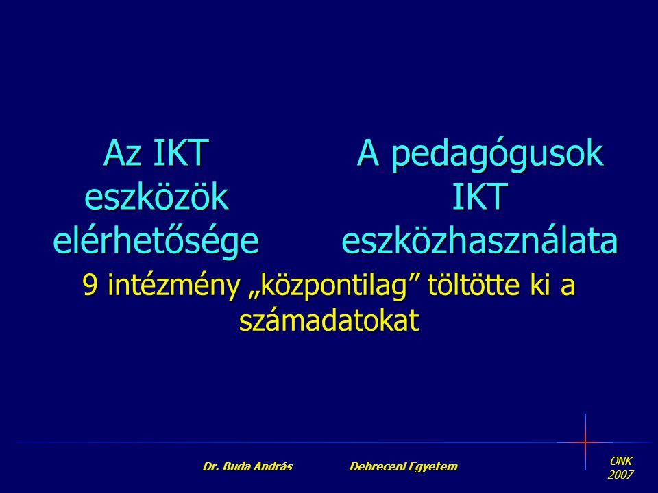 """ONK 2007 Dr. Buda András Debreceni Egyetem A pedagógusok IKTeszközhasználata 9 intézmény """"központilag"""" töltötte ki a számadatokat Az IKT eszközök elér"""