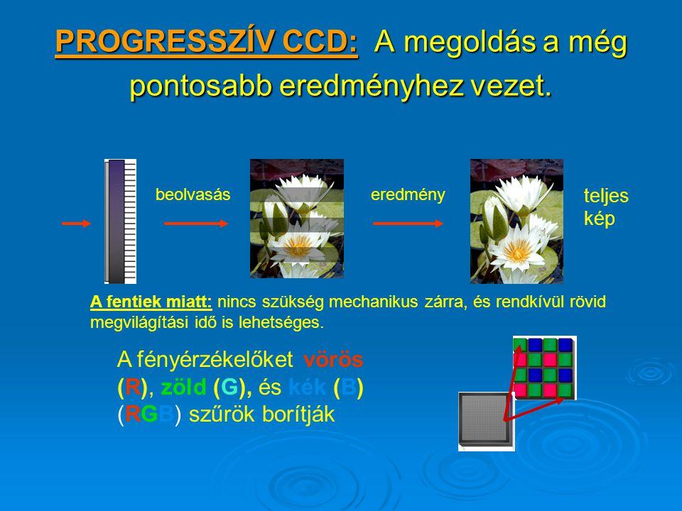 A VIDEO CCD KÉP OLVASÁSA Első sorok 2, 4, 6, 8, stb.... További sorok 1, 3, 5, 7, stb. Együtt alkotják a teljes digitális képet.