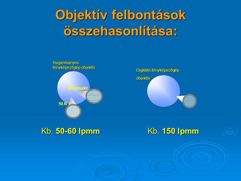 """OBJEKTÍV 24x36mm 2/3"""" érzékelő 6.6 x 8.8 mm 1/2"""" érzékelő 4.8 x 6.4 mm 4.8 x 6.4 mm 1/3"""" érzékelő 3.3 x 4.4 mm 3.3 x 4.4 mm Míg a hagyományos fényképe"""