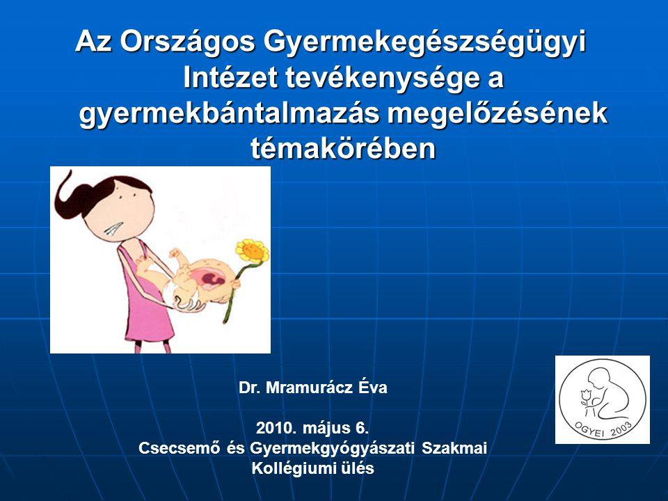 Az Országos Gyermekegészségügyi Intézet tevékenysége a gyermekbántalmazás megelőzésének témakörében Dr. Mramurácz Éva 2010. május 6. Csecsemő és Gyerm