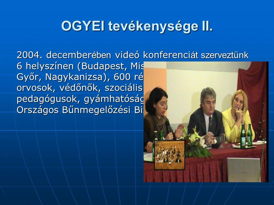OGYEI tevékenysége II. 2004. december ében videó konferenci át szerveztünk 6 helyszínen (Budapest, Miskolc, Szeged, Pécs, Győr, Nagykanizsa), 600 rész