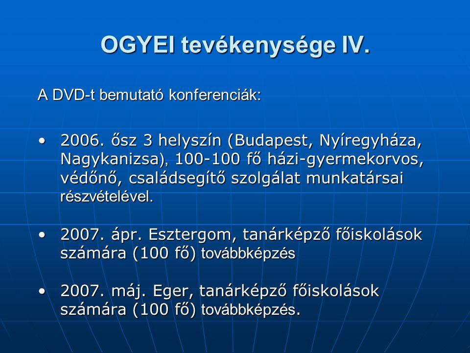 OGYEI tevékenysége IV. A DVD-t bemutató konferenciák: •2006. ősz 3 helyszín (Budapest, Nyíregyháza, Nagykanizsa ), 100-100 fő házi-gyermekorvos, védőn