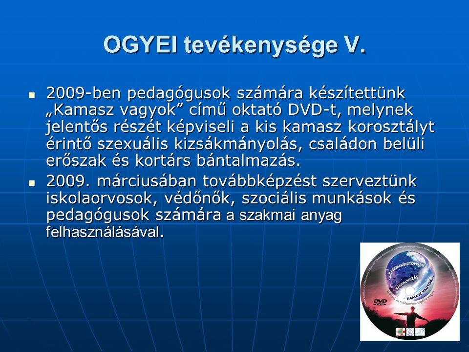 """OGYEI tevékenysége V.  2009-ben pedagógusok számára készítettünk """"Kamasz vagyok"""" című oktató DVD-t, melynek jelentős részét képviseli a kis kamasz ko"""