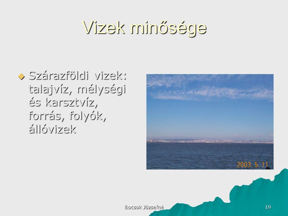 Bocsok Józsefné 19 Vizek minősége  Szárazföldi vizek: talajvíz, mélységi és karsztvíz, forrás, folyók, állóvizek