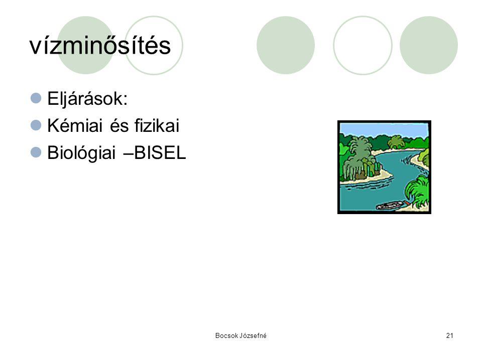 Bocsok Józsefné21 vízminősítés  Eljárások:  Kémiai és fizikai  Biológiai –BISEL