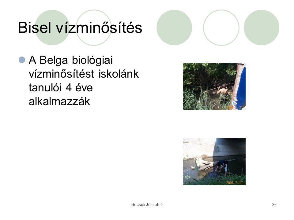 Bocsok Józsefné26 Bisel vízminősítés  A Belga biológiai vízminősítést iskolánk tanulói 4 éve alkalmazzák