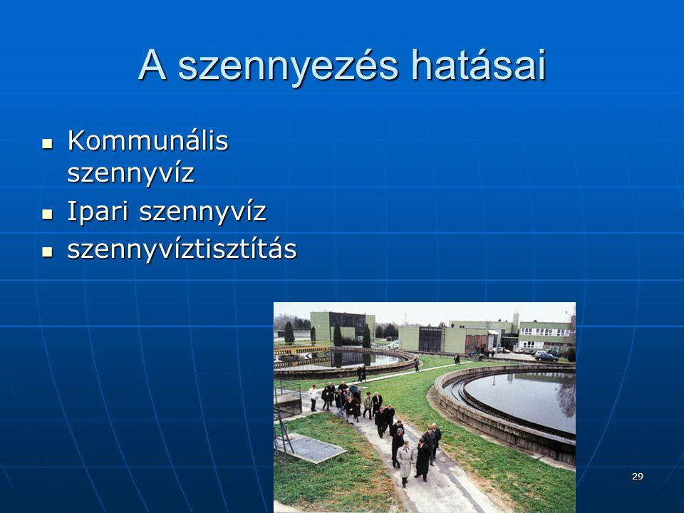 Bocsok Józsefné 29 A szennyezés hatásai  Kommunális szennyvíz  Ipari szennyvíz  szennyvíztisztítás