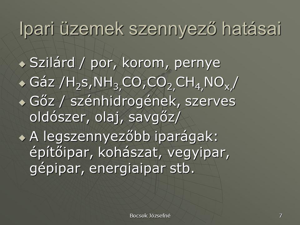 Bocsok Józsefné 7 Ipari üzemek szennyező hatásai  Szilárd / por, korom, pernye  Gáz /H 2 s,NH 3, CO,CO 2, CH 4, NO x, /  Gőz / szénhidrogének, szerves oldószer, olaj, savgőz/  A legszennyezőbb iparágak: építőipar, kohászat, vegyipar, gépipar, energiaipar stb.