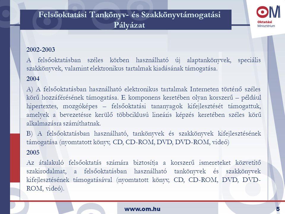 www.om.hu5 Felsőoktatási Tankönyv- és Szakkönyvtámogatási Pályázat 2002-2003 A felsőoktatásban széles körben használható új alaptankönyvek, speciális szakkönyvek, valamint elektronikus tartalmak kiadásának támogatása.