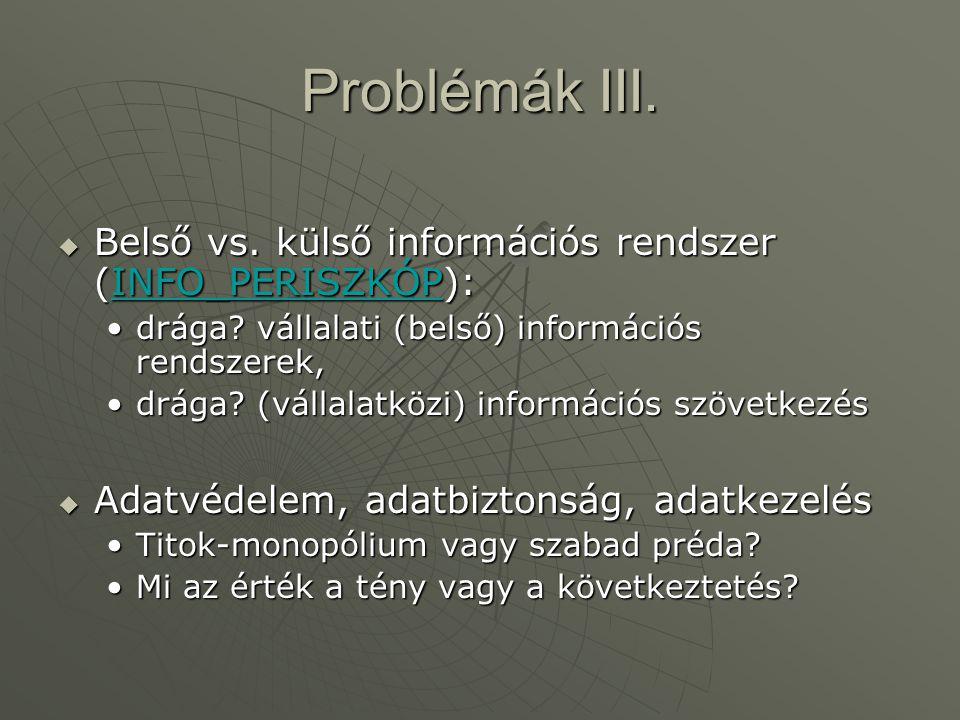 Problémák III.  Belső vs. külső információs rendszer (INFO_PERISZKÓP): INFO_PERISZKÓP •drága? vállalati (belső) információs rendszerek, •drága? (váll