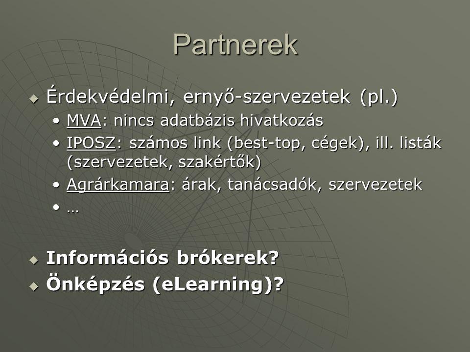 Partnerek  Érdekvédelmi, ernyő-szervezetek (pl.) •MVA: nincs adatbázis hivatkozás •IPOSZ: számos link (best-top, cégek), ill. listák (szervezetek, sz