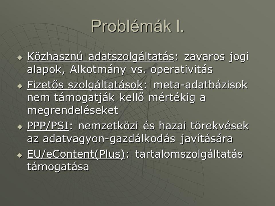 Problémák I.  Közhasznú adatszolgáltatás: zavaros jogi alapok, Alkotmány vs. operativitás  Fizetős szolgáltatások: meta-adatbázisok nem támogatják k